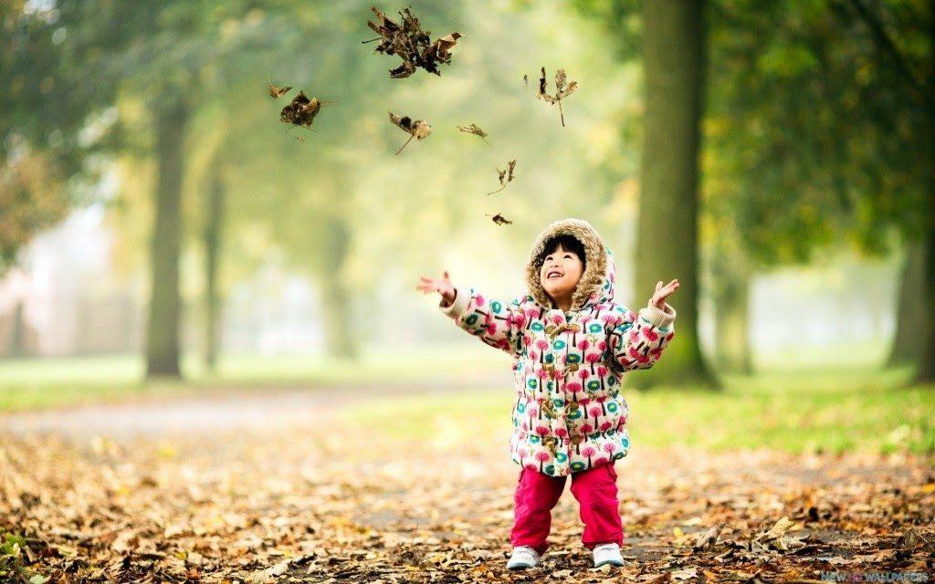 Niño feliz en otoño