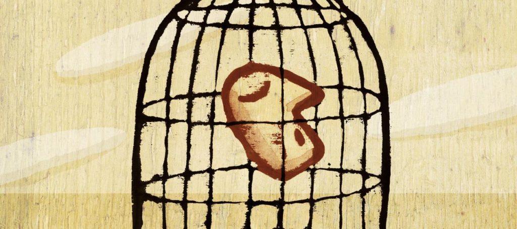 Cabeza dentro de jaula